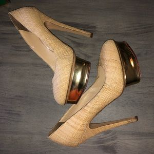 Charlotte Olympia Natural Raffia Dolly Gold